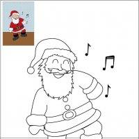 Coloriage de Noël, Le Père Noël qui danse à imprimer pour les enfants
