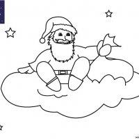 Coloriage de Noël, Le Père Noël sur un nuage dans le ciel à imprimer pour les enfants