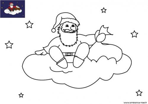 Coloriage de no l le p re no l sur un nuage dans le ciel imprimer gratuitement pour les enfants - Oui oui et le pere noel ...
