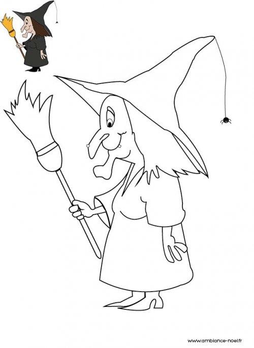 Coloriage d 39 halloween imprimer pour les enfants la sorci re - Comment dessiner une sorciere facilement ...