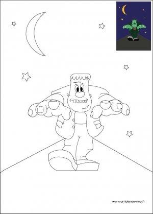 Coloriage d'Halloween à imprimer pour les enfants, Le monstre de Frankenstein