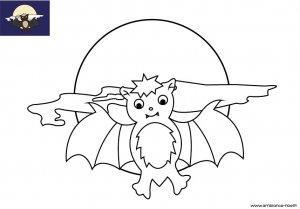 Coloriage d'Halloween à imprimer pour les enfants, La chauve-souris