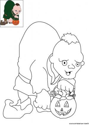 Coloriage d'Halloween à imprimer pour les enfants, Le bossue