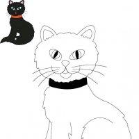 Coloriage d'Halloween à imprimer pour les enfants, Le chat noir