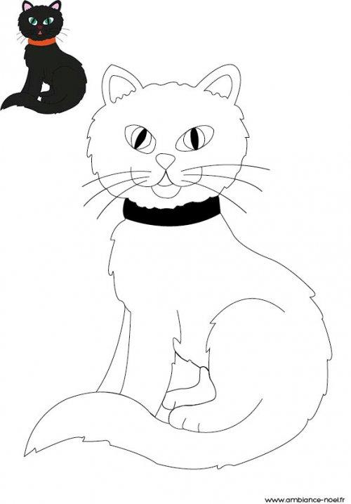 Coloriage d 39 halloween imprimer pour les enfants le chat - Dessin chat noir ...