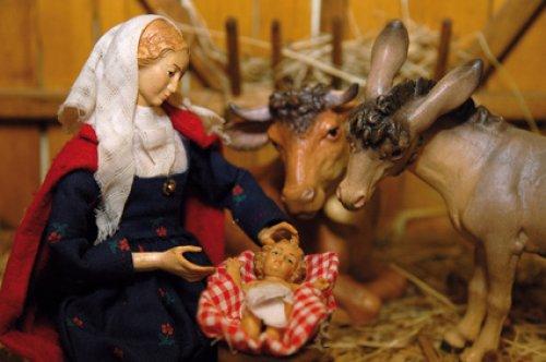 L'âne et le boeuf dans la crèche de Noël